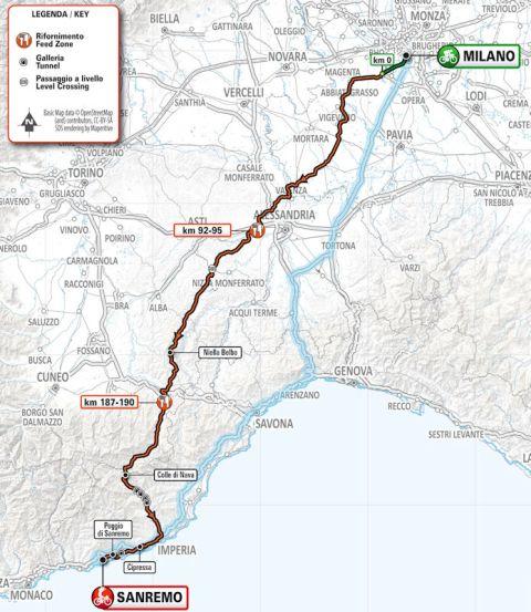 Milan-San Remo 2020 Routw